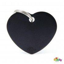 MY FAMILY BASIC BLACK HEART LARGE TAG 4X2CM