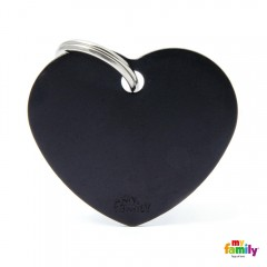 MY FAMILY BASIC BLACK HEART LARGE TAG 4X2CM