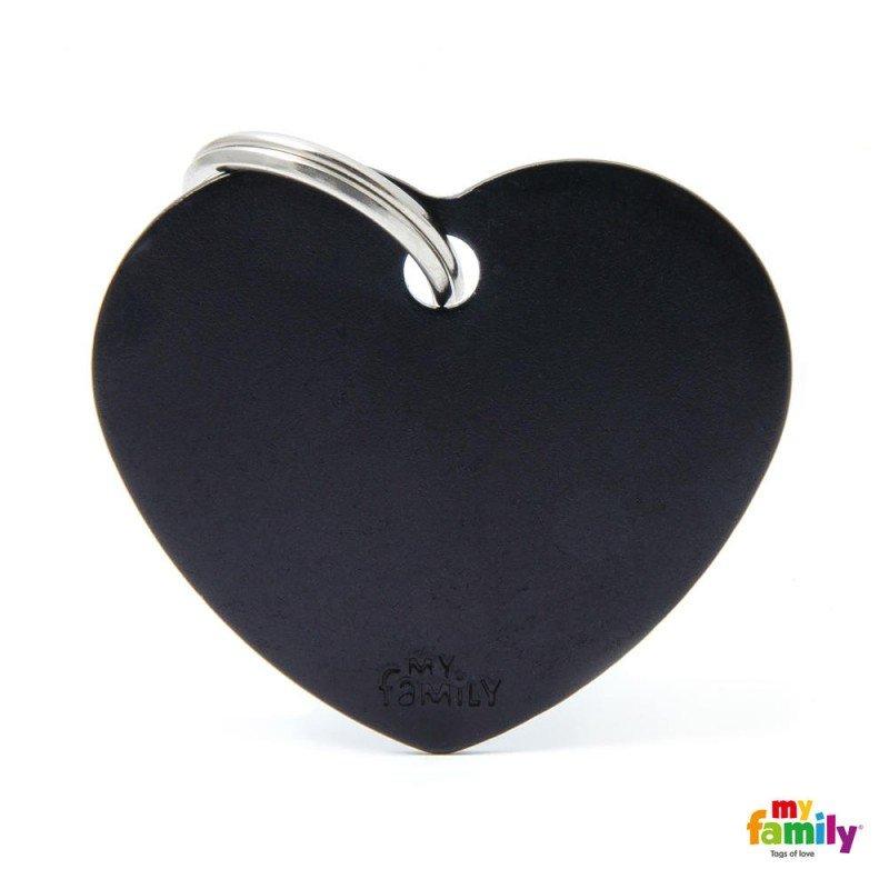 MY FAMILY BASIC BLACK HEART LARGE TAG 4X2CM ΤΑΥΤΟΤΗΤΕΣ