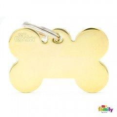 ΤΑΥΤΟΤΗΤΑ ΣΚΥΛΟΥ MY FAMILY BASIC GOLD BRASS BONE TAG XLARGE 4,8x3,15cm
