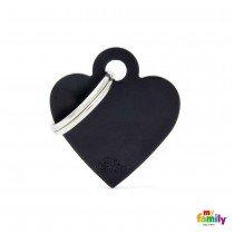 MY FAMILY BASIC BLACK HEART SMALL TAG 3X2CM