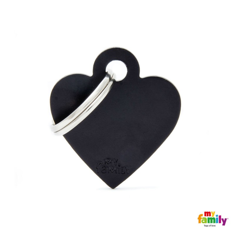 MY FAMILY BASIC BLACK HEART SMALL TAG 3X2CM ΤΑΥΤΟΤΗΤΕΣ