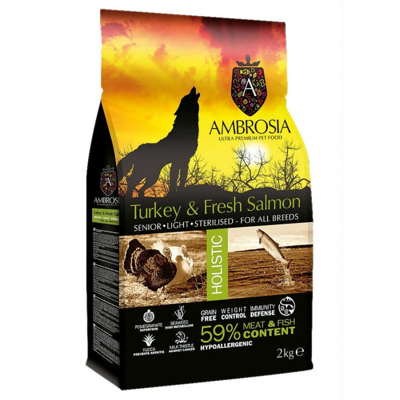 AMBROSIA GRAIN-FREE DOG SENIOR - LIGHT - STERILIZED FRESH TURKEY & SALMON 2KG ΞΗΡΑ ΤΡΟΦΗ ΣΚΥΛΟΥ