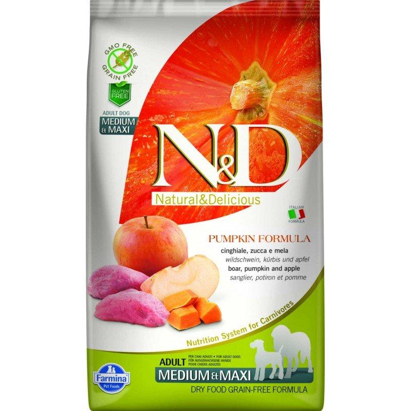 N & D GRAIN FREE PUMPKIN BOAR AND APPLE ADULT MEDIUM & MAXI 2,5KG