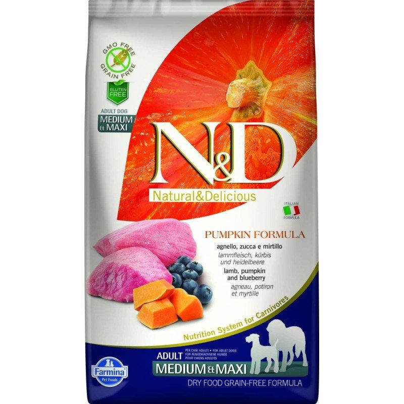 N & D GRAIN FREE PUMPKIN LAMB & BLUEBERRY ADULT MEDIUM & MAXI 12KG