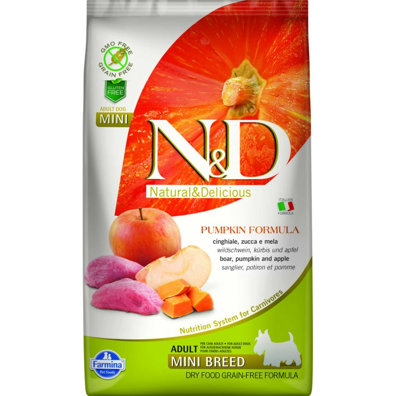 N & D GRAIN FREE PUMPKIN BOAR AND APPLE ADULT MINI 2,5KG