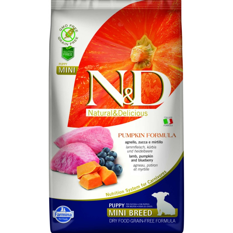 N & D GRAIN FREE PUMPKIN LAMB & BLUEBERRY PUPPY MINI 2,5KG