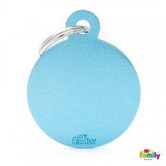 MY FAMILY BASIC LIGHT BLUE ROUND LARGE TAG 4X3CM