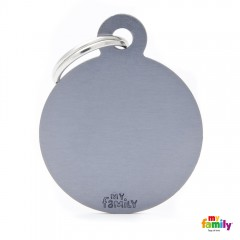 MY FAMILY BASIC GREY ROUND LARGE TAG 4X3CM