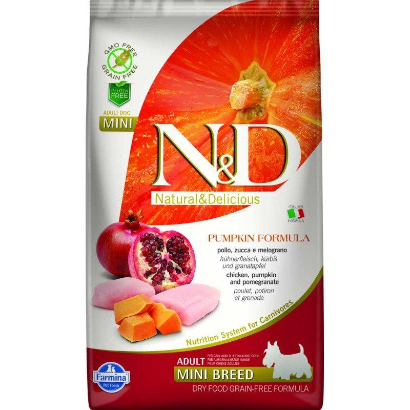 N & D GRAIN FREE PUMPKIN CHICKEN & POMEGRANATE ADULT MINI 2,5KG