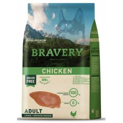 BRAVERY GRAIN FREE ADULT MEDIUM - LARGE CHICKEN DOG 12KG