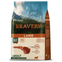 BRAVERY GRAIN FREE ADULT MEDIUM - LARGE LAMB (ΑΡΝΙ) DOG 12KG