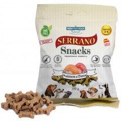 Λιχουδιές σε μικρές μαλακές μπουκιές Serrano Σολομός και Τόνος 100gr
