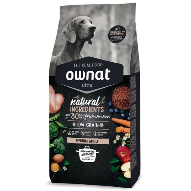 Ownat Ultra Low Grain Medium Adult Κοτόπουλο 14kg (12kg + 2kg Δώρο) ΞΗΡΑ ΤΡΟΦΗ ΣΚΥΛΟΥ
