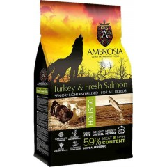 AMBROSIA GRAIN-FREE DOG SENIOR - LIGHT - STERILIZED FRESH TURKEY & SALMON 12KG + ΔΩΡΟ ΛΑΔΙ ΣΟΛΩΜΟΥ PERFECT CARE FRESHNESS 100ML