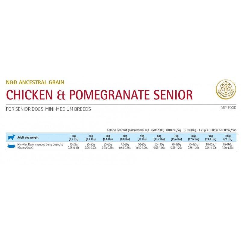 N&D LOW GRAIN CHICKEN & POMEGRANATE SENIOR MINI 2.5KG ΞΗΡΑ ΤΡΟΦΗ ΣΚΥΛΟΥ