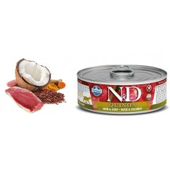 N & D CAT QUINOA SKIN & COAT DUCK WET FOOD 80GR (6 + 6 ΔΩΡΟ)