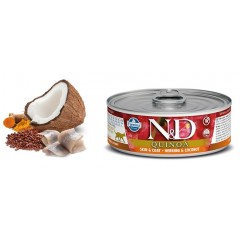 N & D CAT QUINOA SKIN & COAT HERRING WET FOOD 80GR (6 + 6 ΔΩΡΟ)