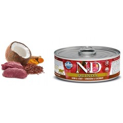 N & D CAT QUINOA SKIN & COAT VENISON WET FOOD 80GR (6 + 6 ΔΩΡΟ)
