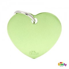 MY FAMILY BASIC GREEN HEART LARGE TAG 4X2CM