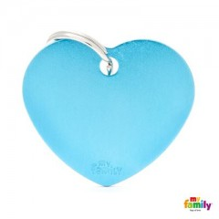 MY FAMILY BASIC LIGHT BLUE HEART LARGE TAG 4X2CM