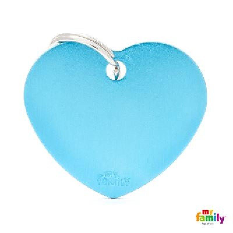 MY FAMILY BASIC LIGHT BLUE HEART LARGE TAG 4X2CM ΤΑΥΤΟΤΗΤΕΣ