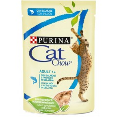 Cat Chow Adult Σε Ζελέ 85gr Σολομός Και Πράσινα Φασολάκια